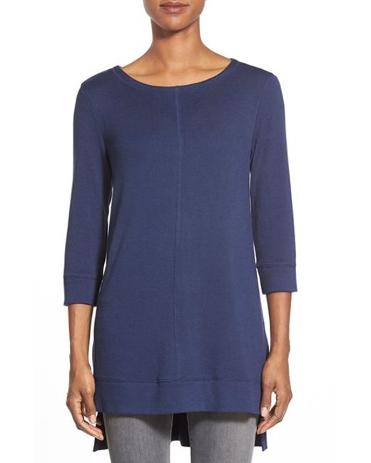 Caslon | Blue Caslon Three Quarter Sleeve Side Slit Tunic | Lyst