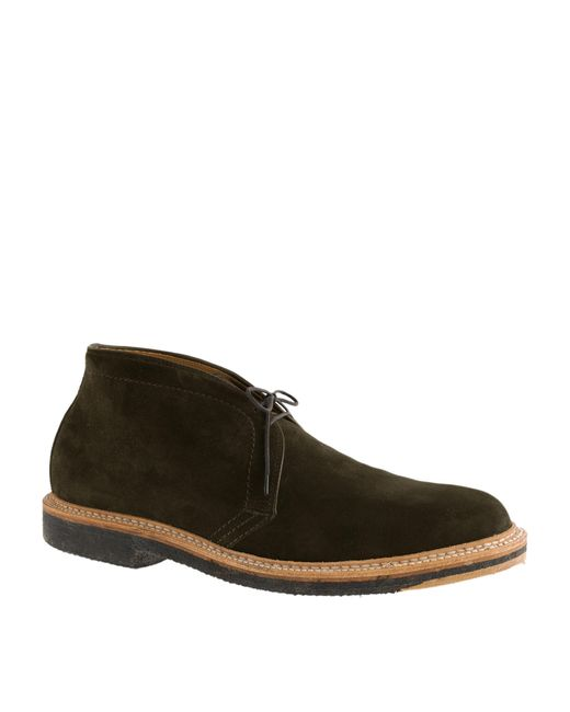 j crew alden suede chukka boots in green for