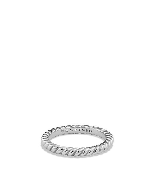 David Yurman | Metallic Cable Band Ring In Platinum | Lyst