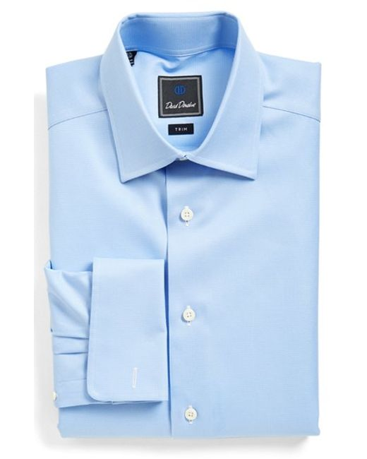 David donahue trim fit texture dress shirt in blue for men for David donahue french cuff shirts