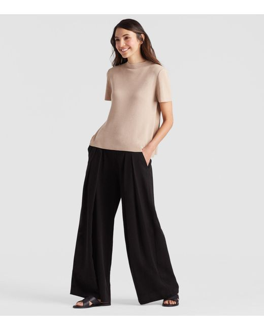 Eileen Fisher - Black Corded Wide-leg Pant - Lyst