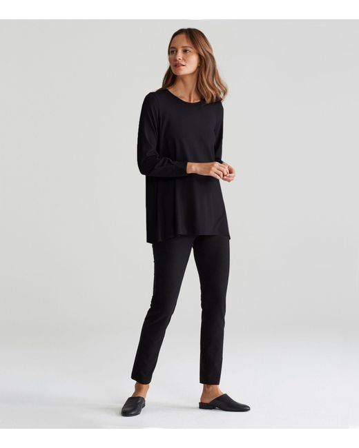 Eileen Fisher - Black Viscose Jersey A-line Top - Lyst