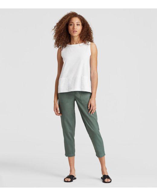 Eileen Fisher - White Organic Cotton Jersey Slub Pocket Shell - Lyst