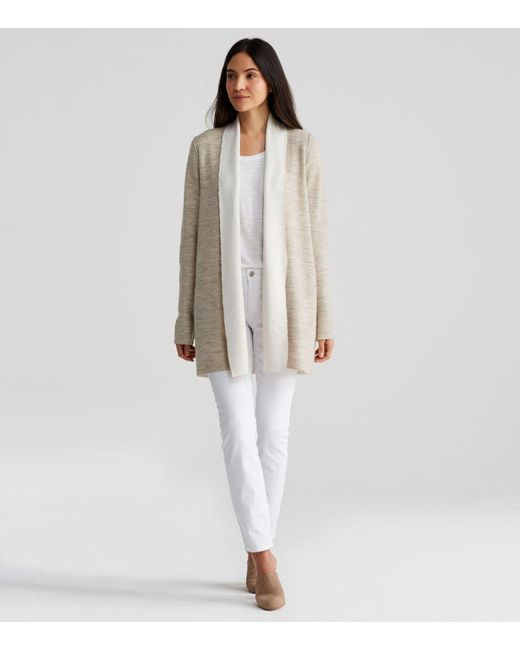 Eileen fisher Merino And Organic Cotton Cashmere Cardigan | Lyst