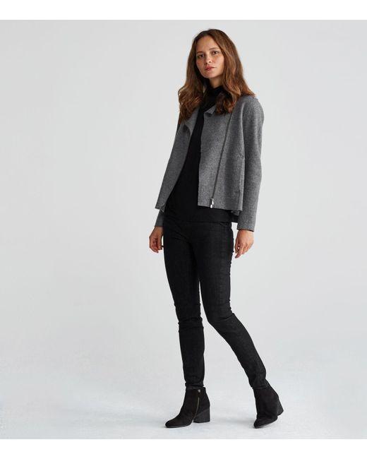 Eileen Fisher | Gray Boiled Wool Moto Jacket | Lyst