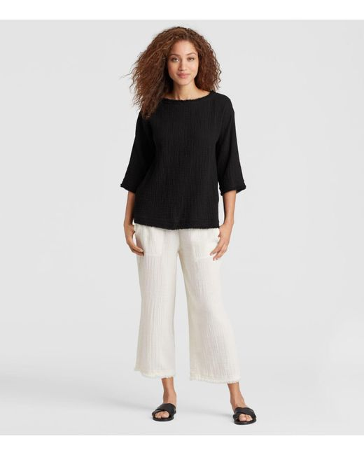 Eileen Fisher - Black Organic Cotton Gauze Box-top - Lyst