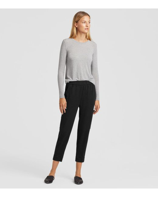 43aa8334451c Eileen Fisher - Black Organic Cotton Fleece Slouchy Pants - Lyst ...