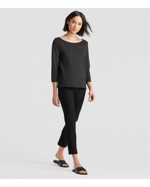 Eileen Fisher - Black Organic Cotton Interlock Ballet Neck 3/4-sleeve Tee - Lyst