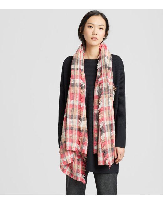 Eileen Fisher - Red Handwoven Peruvian Organic Cotton Plaid Wrap - Lyst