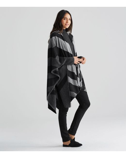 Eileen Fisher | Black Chevron Wool Blend Serape | Lyst