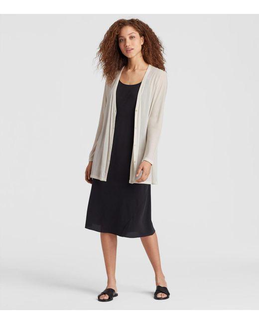 Eileen Fisher - Multicolor Sheer Silk Jersey V-neck Cardigan - Lyst