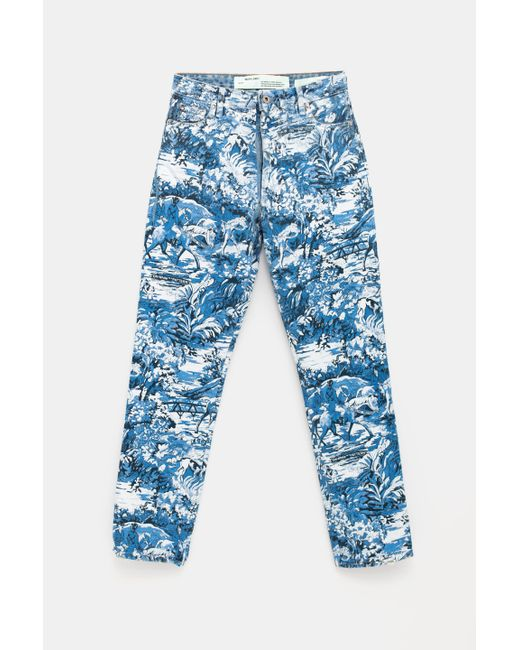 0247799eb4c5 ... Off-White c o Virgil Abloh - Blue Tapestry Straight Jeans - Lyst ...