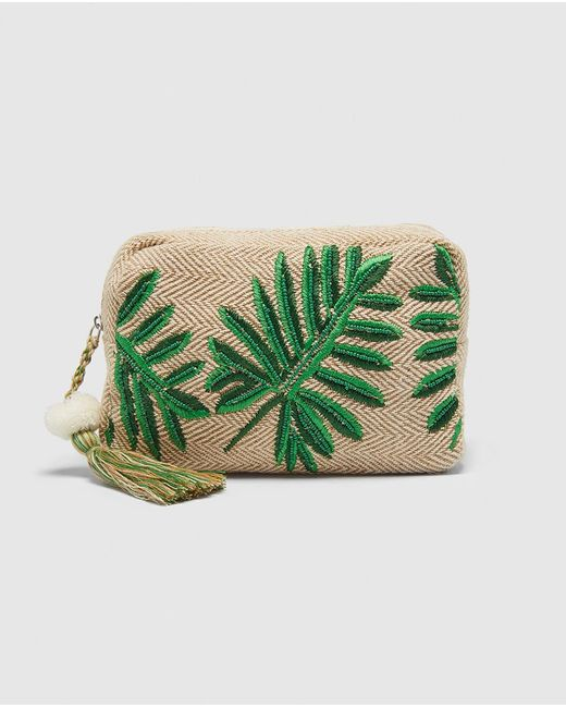 El Corte Inglés - Natural Tan Raffia Toiletry Bag With Embroidery - Lyst