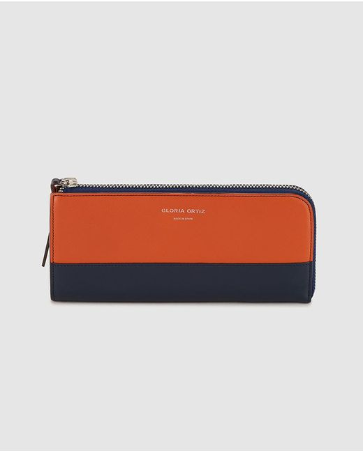 Gloria Ortiz - Sofia Navy Blue And Orange Leather Wallet With Zip Fastening - Lyst