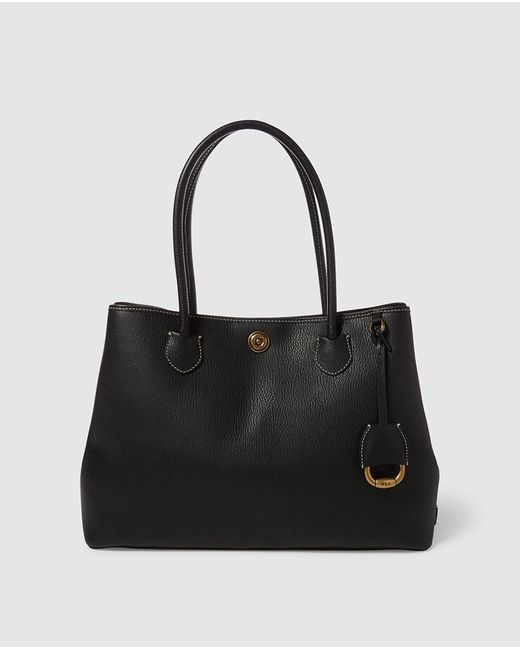 Lauren by Ralph Lauren - Black Leather Tote Bag With Press Studs On The Sides - Lyst