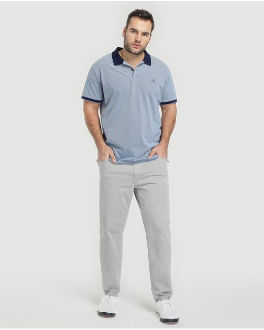 541553542 ... Gant - Big And Tall Classic-fit Blue Short Sleeve Piqué Polo Shirt for  Men