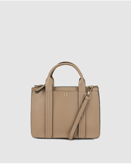 El Corte Inglés - Brown Small Taupe Handbag With Front Strap With Top Stitching - Lyst