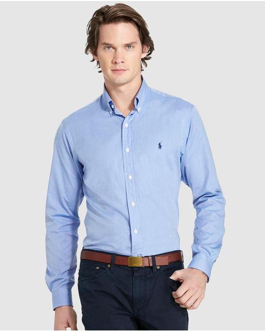 Polo Ralph Lauren | Mens Plain-coloured Blue Slim-fit Shirt for Men | Lyst