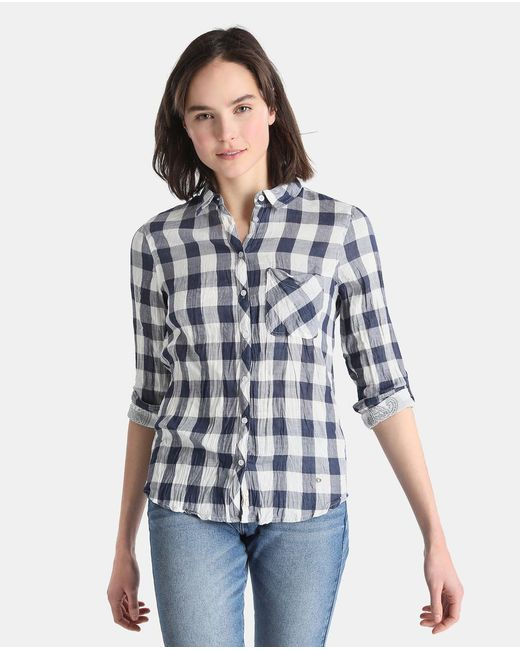GREEN COAST - Blue Checked Shirt With Double Fabric - Lyst