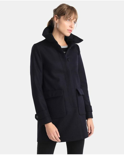 Tommy Hilfiger | Long Navy Blue Coat | Lyst
