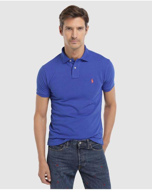 Polo Ralph Lauren - Blue Short Sleeve Slim-fit Piqué Polo Shirt for Men - Lyst