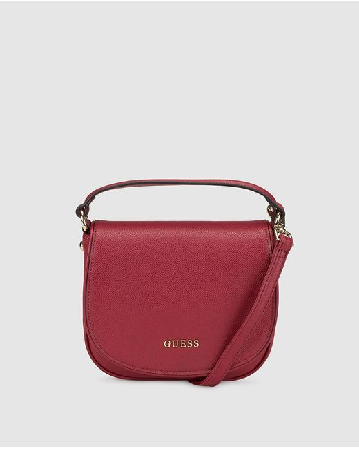 Guess - Red Burgundy Messenger Bag With Saffiano Effect - Lyst