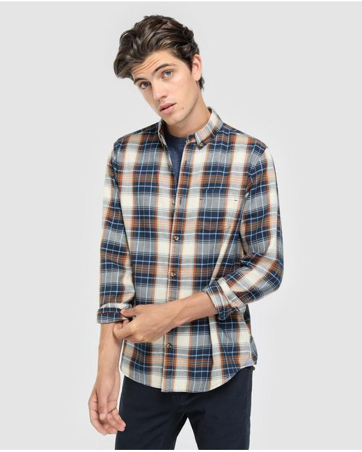 GREEN COAST - Blue Slim-fit Multicoloured Checked Shirt for Men - Lyst