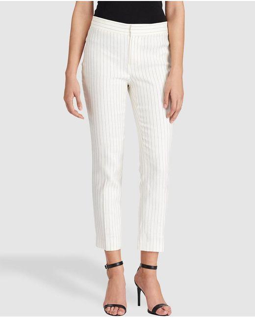 Lauren by Ralph Lauren | White Pinstriped Skinny Trousers | Lyst