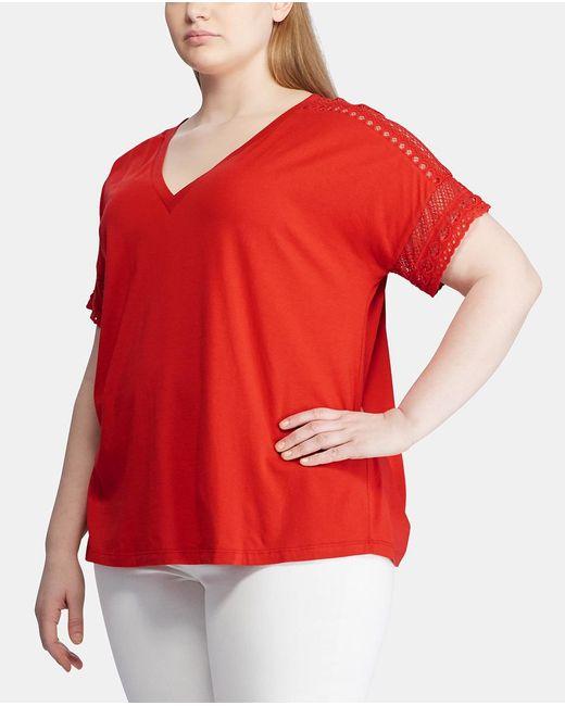 Denim & Supply Ralph Lauren Red Plus Size T-shirt With Short Sleeves