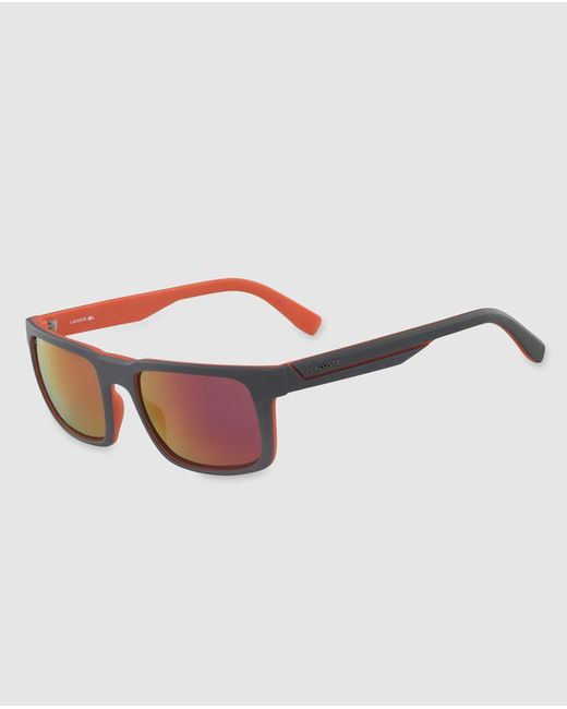 Lacoste - Gray Mens Grey Rectangular Sunglasses With Mirror Lenses for Men - Lyst