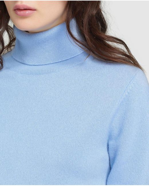 James perse Pale Blue Sweater With A Polo Neck in Blue | Lyst