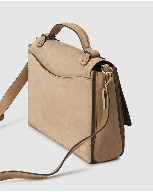 Polo Ralph Lauren Natural Camel Coloured Cowhide Leather Handbag With Front Fastener Lyst