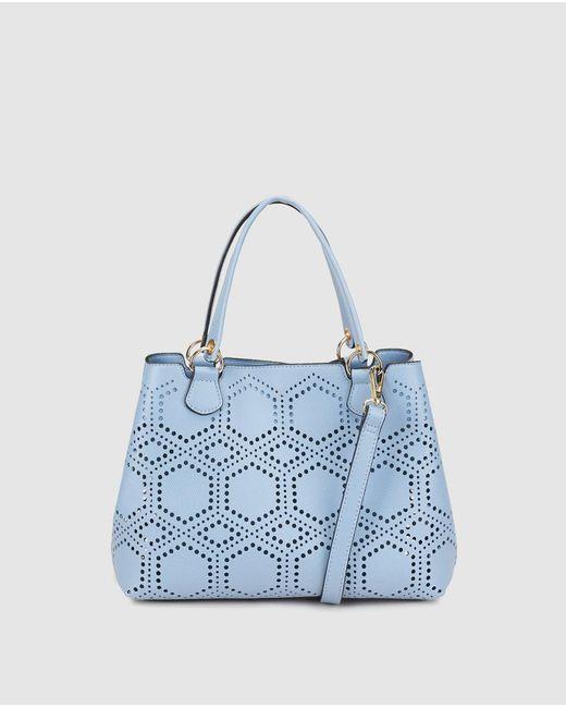 El Corte Inglés - Small Pale Blue Shopper Bag With Perforations - Lyst