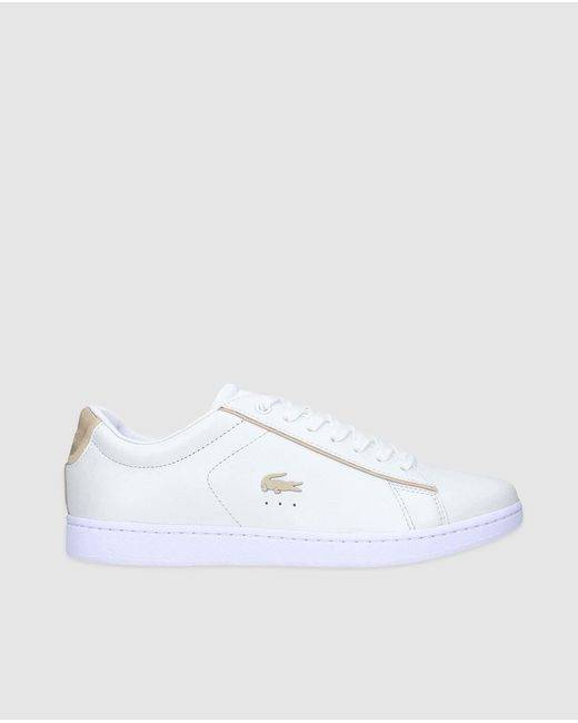 Lacoste White Leather Trainers With Logo
