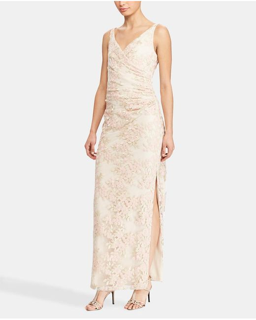 Lauren by Ralph Lauren - White Long Dress With Floral Embroidery - Lyst