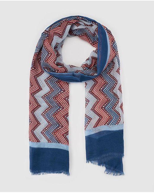 El Corte Inglés Red And Blue Zigzag Print Foulard