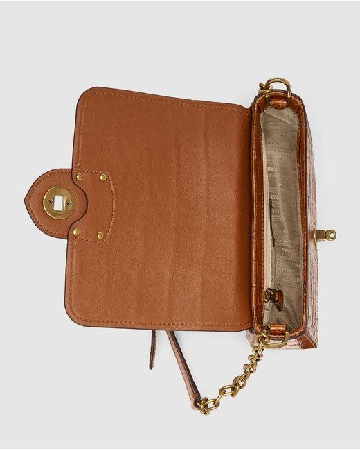 999560468b5b ... Lauren by Ralph Lauren - Small Brown Mock-croc Leather Crossbody Bag  With Flap ...