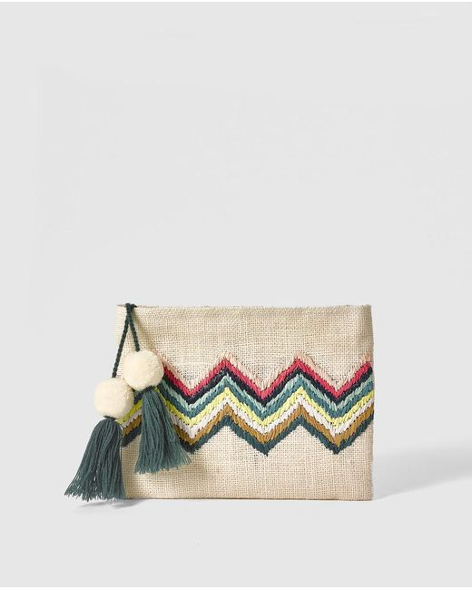 El Corte Inglés - Natural Tan Raffia Pouch Bag With Multicoloured Zigzag Embroidery - Lyst