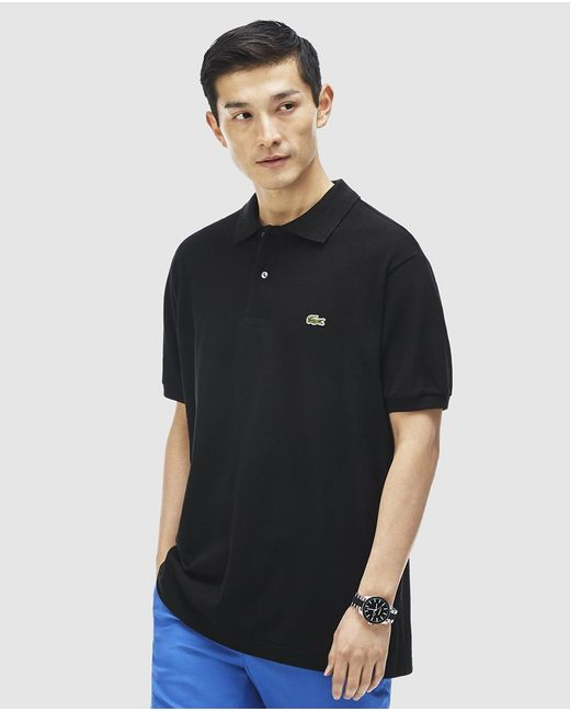 Lacoste Black Short Sleeve Polo Shirt In Black For Men Lyst