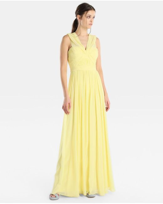 Vera Wang - Yellow Draped Halter Neck Evening Dress - Lyst