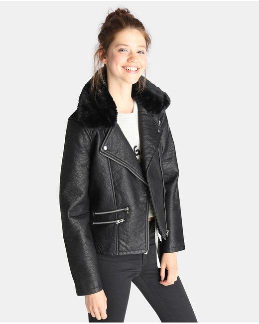GREEN COAST | Black Biker Jacket With Fur Trim | Lyst