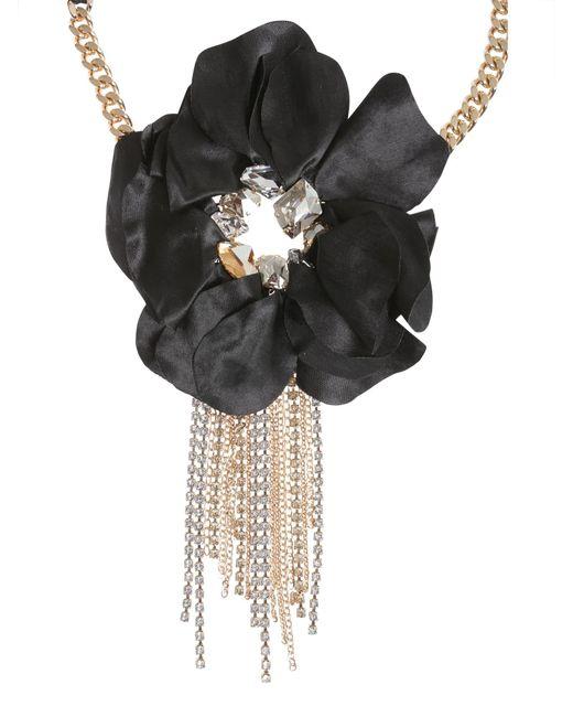 Lanvin - Black Flower Charm Choker - Lyst