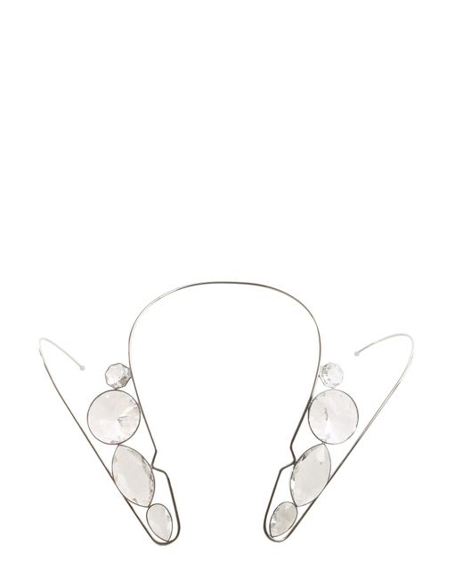 Maison Margiela - Metallic Brass Necklace With Crystal - Lyst