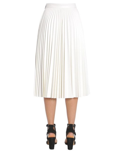msgm pleated eco leather skirt in white lyst