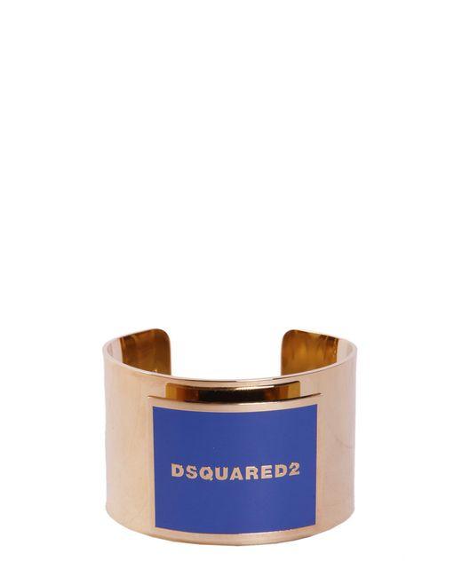 DSquared² | Metallic Brass Bracelet With Logo | Lyst