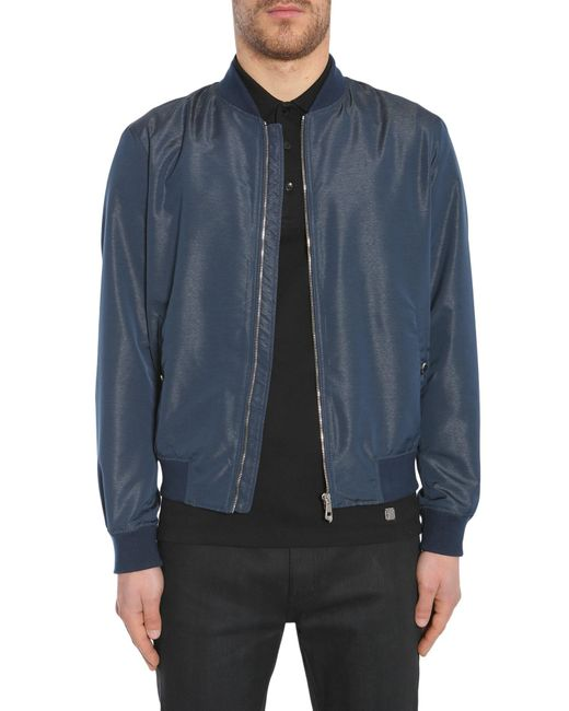 Versace | Blue Zipped Bomber Jacket In Technical Fabric for Men | Lyst