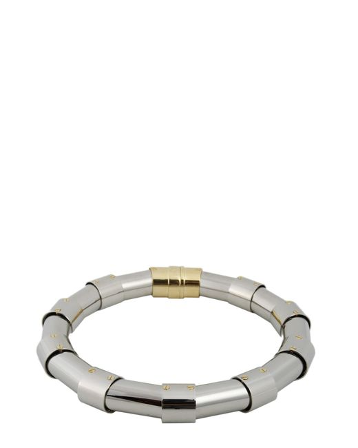 Lanvin - Metallic Necklace With Hook And Stud Closure - Lyst