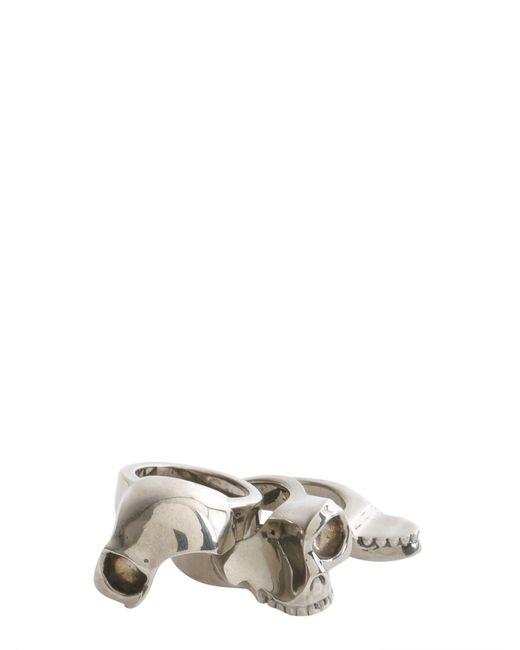 Alexander McQueen | Metallic Divided Skull Brass Ring for Men | Lyst