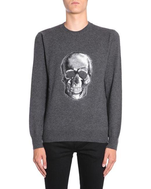 Alexander McQueen - Gray Round Collar Mohair Jumper With Skull Intarsia for Men - Lyst