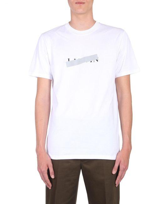 Lanvin - White Cotton T-shirt With Logo Print for Men - Lyst